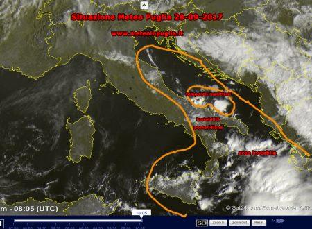 Situazione Meteo Puglia 28-09-2017 – Ancora instabilità sparsa