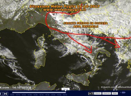 Situazione Meteo Puglia 06-10-2017 – Fronte freddo in discesa su Adriatico, aria instabile in arrivo con freddo, rovesci e temporali!
